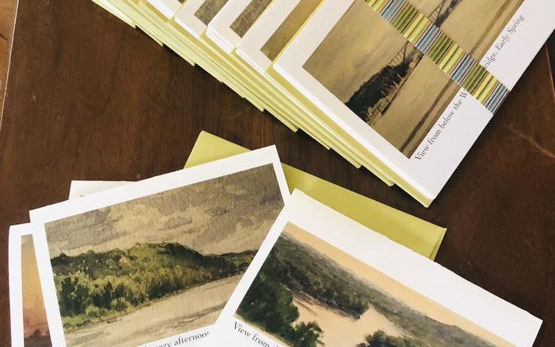 Array of notecards with art by Stuart Loughridge