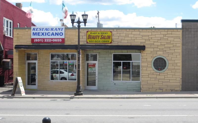 864-66 University, Homi Restaurant Mexicano and East & West Beauty Salon, before facade renewal