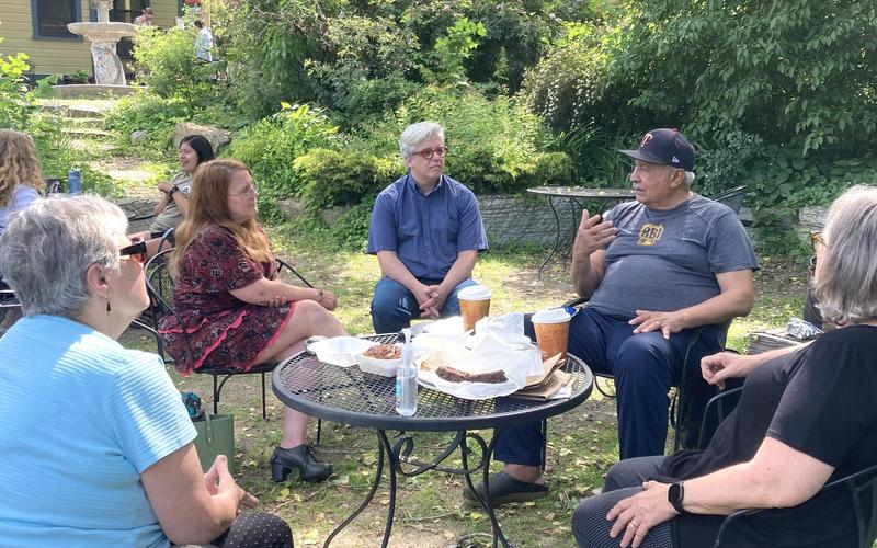 Partners gather for complimentary coffee & conversation at Swede Hollow Cafe