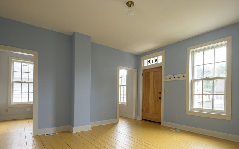 Inside the front room of 412 Goodrich after renovation with period colors