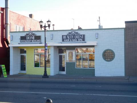 864-66 University Avenue, Home Restaurant Mexicano and Beauty Quest Hair & Nail Spa, after facade renewal.