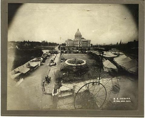 Carnival on University Avenue (at Rice Street), St. Paul; State Capitol in background